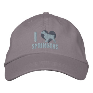 I Love English Springers Embroidered Hat (Storm)