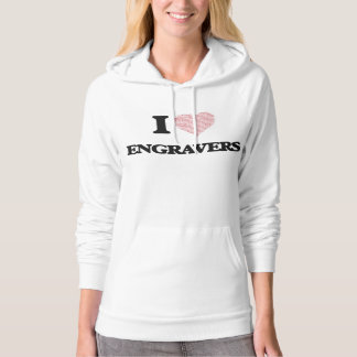 I love Engravers (Heart made from words) Hoodie