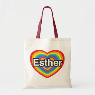 I love Esther. I love you Esther. Heart Budget Tote Bag