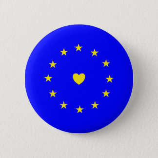 I Love Europe EU Flag with Heart 2 Inch Round Button