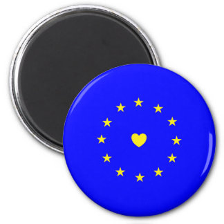 I Love Europe EU Flag with Heart 2 Inch Round Magnet
