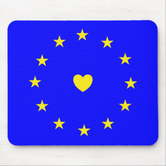 I Love Europe EU Flag with Heart Mouse Pad