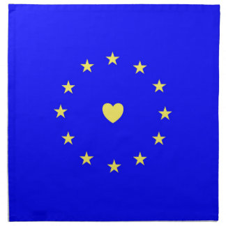 I Love Europe EU Flag with Heart Napkin