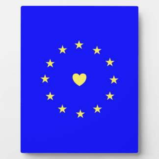I Love Europe EU Flag with Heart Plaque