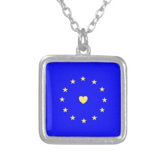 I Love Europe EU Flag with Heart Silver Plated Necklace