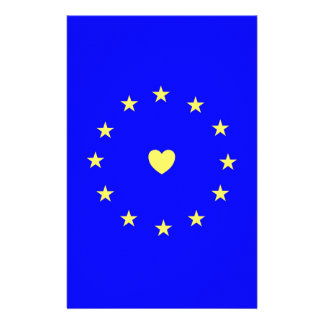 I Love Europe EU Flag with Heart Stationery