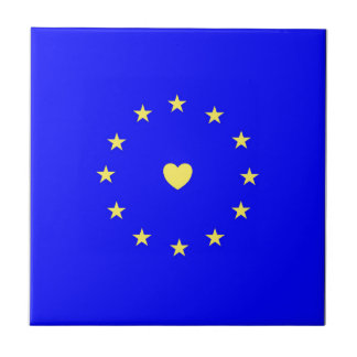 I Love Europe EU Flag with Heart Tile