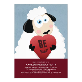 I Love Ewe Be Mine   Valentine's Party Personalized Invitations