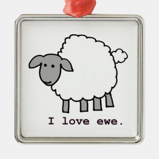 I Love Ewe Sheep Metal Ornament