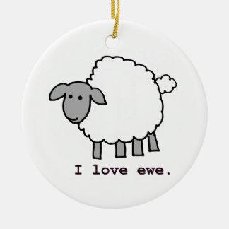 I Love Ewe Sheep Christmas Tree Ornaments