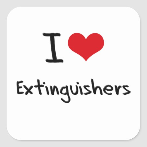 I love Extinguishers Square Stickers