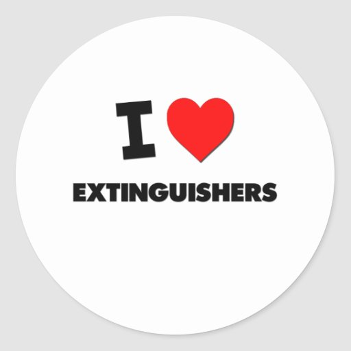 I love Extinguishers Round Sticker