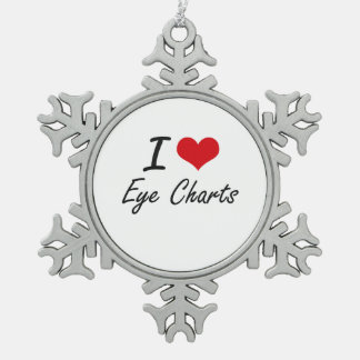 I love EYE CHARTS Pewter Snowflake Ornament