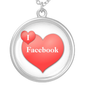 I Love Facebook Silver Plated Necklace