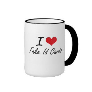 I love Fake Id Cards Ringer Mug