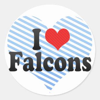 I Love Falcons Round Sticker