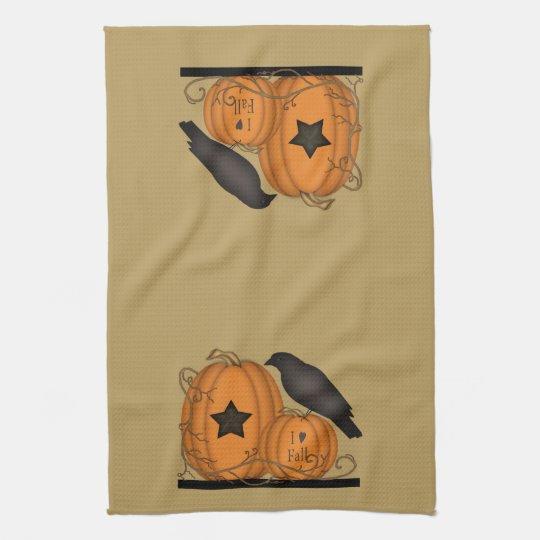 I Love Fall Crow Pumpkin towel