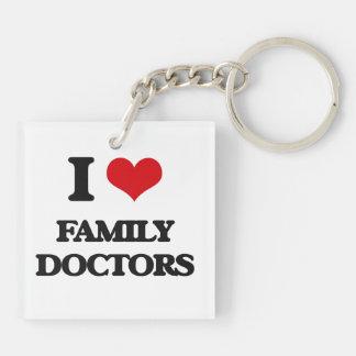 I love Family Doctors Square Acrylic Key Chain