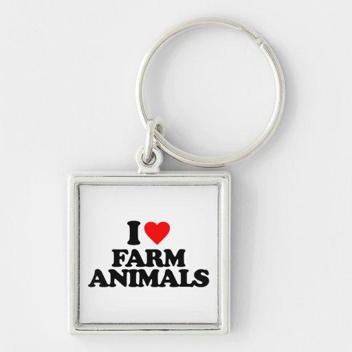 I LOVE FARM ANIMALS KEY CHAINS