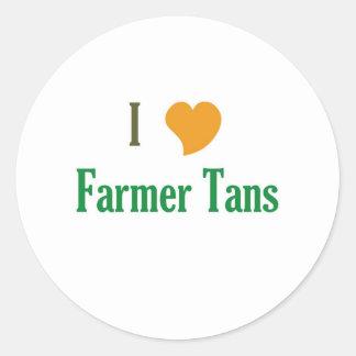 I Love Farmer Tans Round Sticker