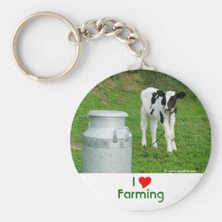 I Love Farming Basic Round Button Keychain