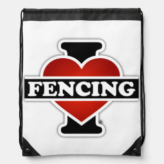 I Love Fencing Drawstring Bag