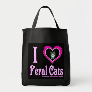 I Love Feral Cats Grocery Bag