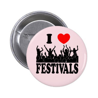 I Love festivals (blk) 2 Inch Round Button