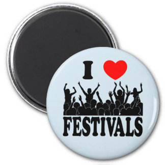 I Love festivals (blk) 2 Inch Round Magnet