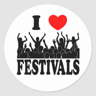 I Love festivals (blk) Classic Round Sticker