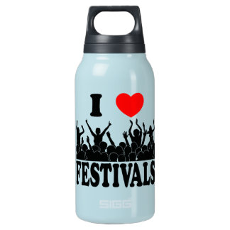 I Love festivals (blk) Insulated Water Bottle