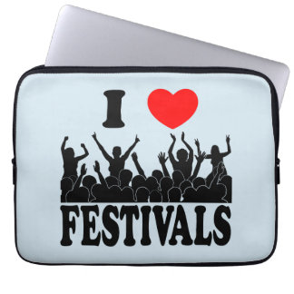 I Love festivals (blk) Laptop Sleeve