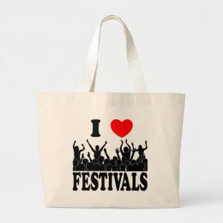 I Love festivals (blk) Large Tote Bag