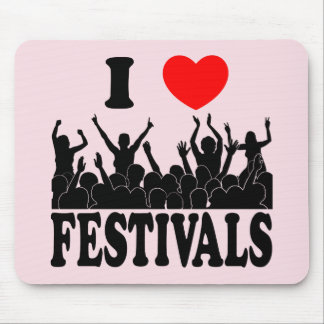 I Love festivals (blk) Mouse Pad