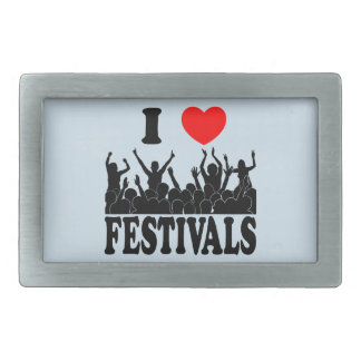 I Love festivals (blk) Rectangular Belt Buckles