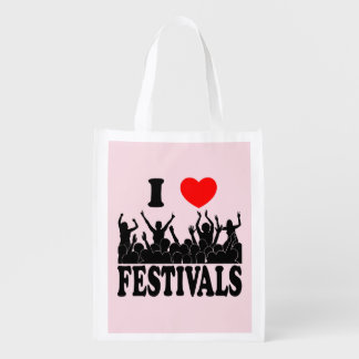 I Love festivals (blk) Reusable Grocery Bag