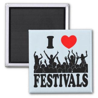 I Love festivals (blk) Square Magnet