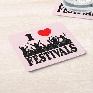 I Love festivals (blk) Square Paper Coaster