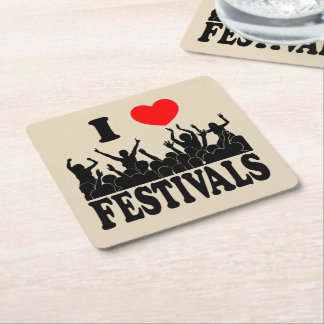 I Love festivals (blk) Square Paper Coaster