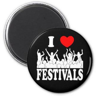 I Love festivals (wht) 2 Inch Round Magnet