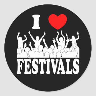 I Love festivals (wht) Classic Round Sticker