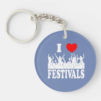 I Love festivals (wht) Keychain
