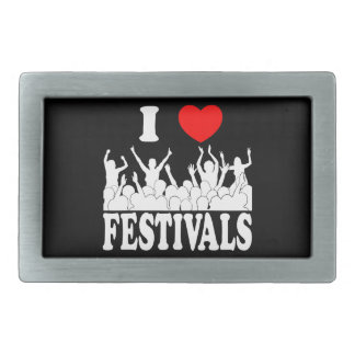 I Love festivals (wht) Rectangular Belt Buckles