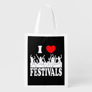 I Love festivals (wht) Reusable Grocery Bag