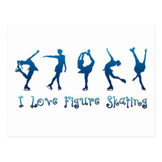 I love figure skating- blue postcard