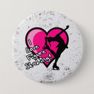 I love figure skating button, on ice 3 inch round button