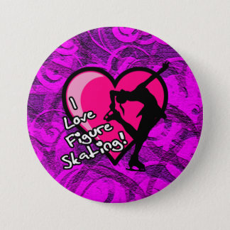 I love figure skating button, purple swirls 3 inch round button
