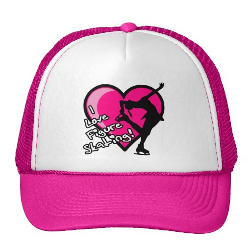 I LOVE FIGURE SKATING HEART GIRL PINK HATS