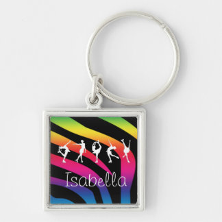 I LOVE FIGURE SKATING Rainbow Zebra, Name KeyChain