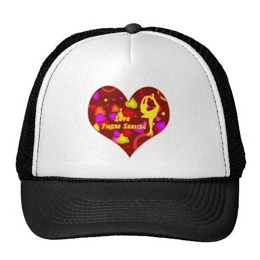 I Love Figure Skating Retro Design Heart Mesh Hat